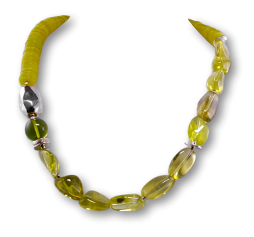 Edelstein Kette - Collier Serpentin - Lemon Quarz - 925er Silber